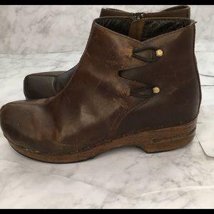 Danko Barbara Brown Leather Wood Heel Boot 42